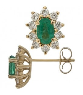 Earrings - 1.58 Carat Oval and Round Cut Emerald & Diamond Earrings 14Kt Yellow Gold