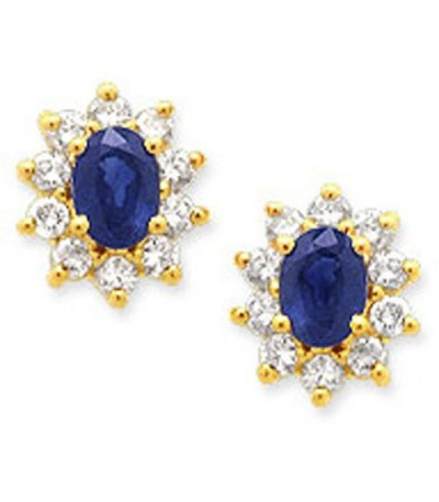 Earrings - 2.04 Carat Oval and Round Cut Sapphire & Diamond Earrings 14Kt Yellow Gold