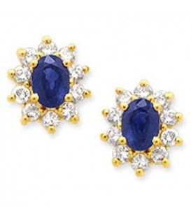 More about 2.04 Carat Oval and Round Cut Sapphire & Diamond Earrings 14Kt Yellow Gold