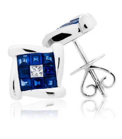 Earrings - 1.47 Carat Square Cut Sapphire & Diamond Earrings 18Kt White Gold