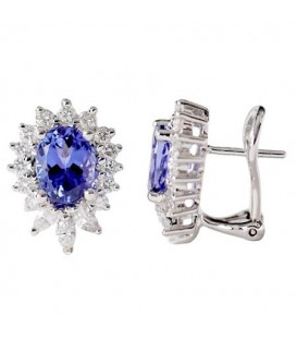 Earrings - 4.08 Carat Oval and Round Cut Tanzanite & Diamond Earrings 18Kt White Gold