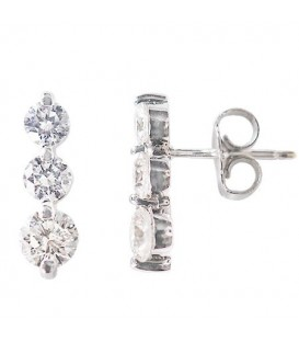 Earrings - 1.00 Carat Round Cut Three Stone Diamond Earrings 18Kt White Gold