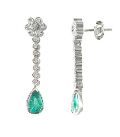 Earrings - 1.98 Carat Pear and Round Cut Emerald & Diamond Earrings 18Kt White Gold