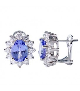 Earrings - 3.37 Carat Oval and Round Cut Tanzanite & Diamond Earrings 18Kt White Gold