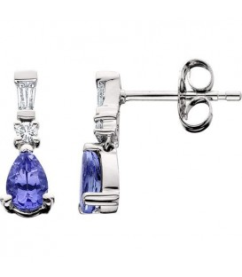 More about 1.05 Carat Pear and Round Cut Tanzanite & Diamond Earrings 14Kt White Gold