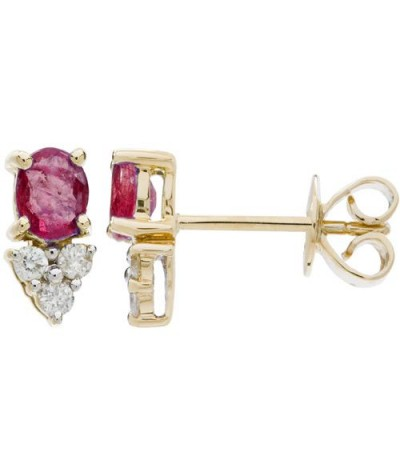 Earrings - 1.30 Carat Oval Cut Ruby and Diamond Stud Earrings 14Kt Yellow Gold