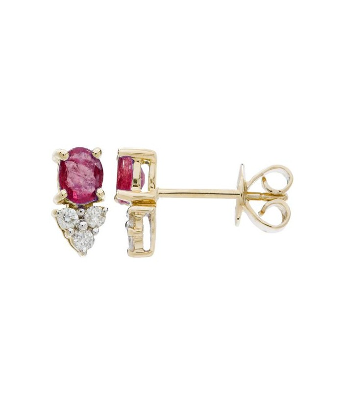 Oval Cut 1 30ct Ruby Amp Diamond Earrings 14kt Yellow Gold