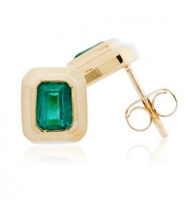 More about 1.56 Carat Emerald Cut Colombian Emerald Stud Earrings 18Kt Yellow Gold