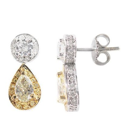 Earrings - 1.22 Carat Pear and Round Cut Yellow Diamond Earrings 18Kt Two-Tone Gold
