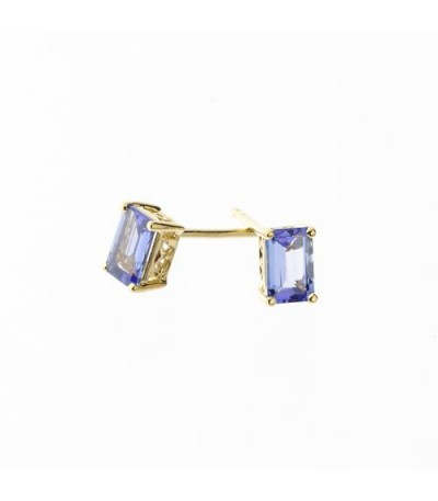 Earrings - 1.11 Carat Emerald Cut Tanzanite Solitaire Earrings 18Kt Yellow Gold