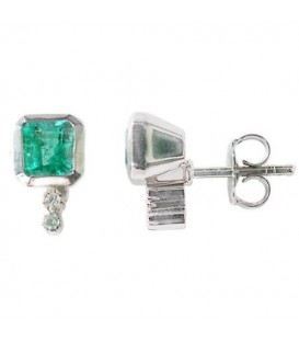 Earrings - 0.96 Carat Emerald and Round Cut Emerald & Diamond Earrings 18Kt White Gold