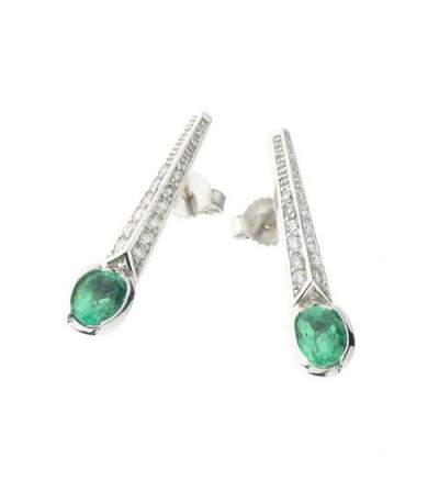 Earrings - 1.24 Carat Oval and Round Cut Emerald & Diamond Earrings 18Kt White Gold