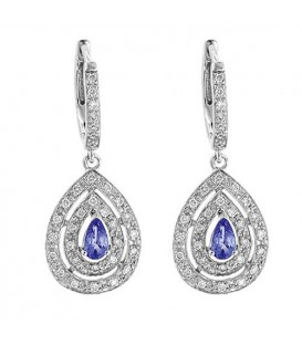 Earrings - 0.86 Carat Pear and Round Cut Tanzanite & Diamond Earrings 14Kt White Gold