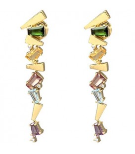 More about 2.56 Carat Fancy and Round Cut Multi Stone Earrings 18Kt Yellow Gold