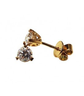 Earrings - 0.75 Carat Round Cut Diamond Solitaire Earrings 18Kt Yellow Gold