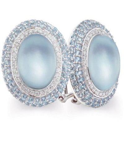 Earrings - 3.14 Carat Oval and Round Cut Blue Topaz & Diamond Earrings 14Kt White Gold