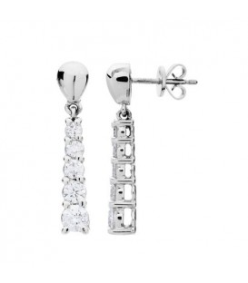 Earrings - 1 Carat Round Cut Diamond Earrings 14Kt White Gold