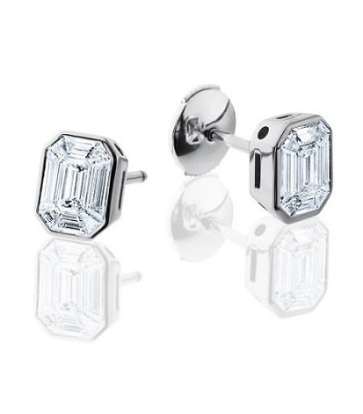 Earrings - 1 Carat Emerald and Trapezoid Cut Diamond Earrings 18Kt White Gold