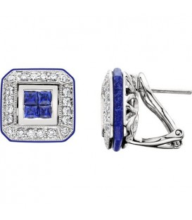 Earrings - 1.10 Carat Square and Round Cut Sapphire, Diamond & Lapis Earrings 18Kt White Gold