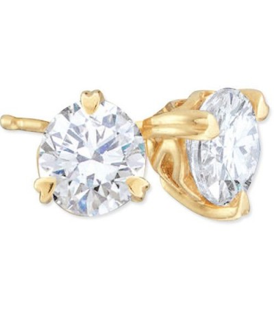 Earrings - 0.75 Carat Round Brilliant Diamond Solitaire Earrings 18Kt Yellow Gold