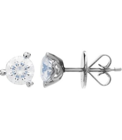 Earrings - 1.00 Carat Round Brilliant Diamond Solitaire Earrings 18Kt White Gold