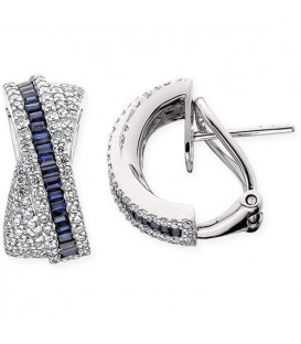 Earrings - 1.77 Carat Baguette and Round Cut Sapphire Earrings 14Kt White Gold