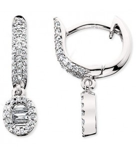 Earrings - 0.47 Carat Baguette and Round Cut Diamond Earrings 14Kt White Gold