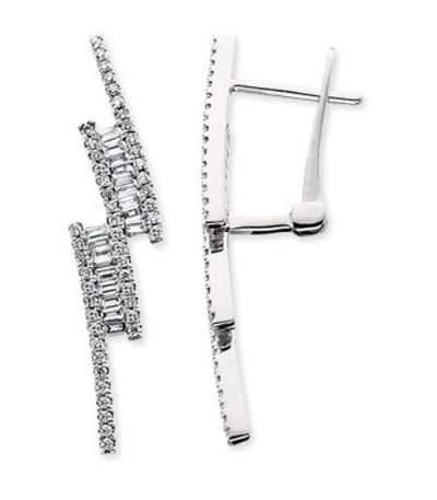 Earrings - 0.66 Carat Baguette and Round Cut Diamond Earrings 14Kt White Gold