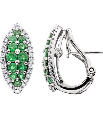 Earrings - 1.59 Carat Round Cut Emerald & Diamond Earrings 14Kt White Gold