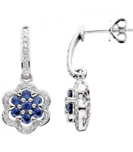 More about 1.70 Carat Round Cut Sapphire & Diamond Earrings 14Kt White Gold
