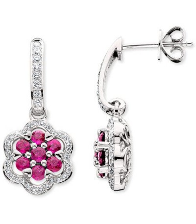 Earrings - 2.01 Carat Round Cut Ruby & Diamond Drop Earrings 14Kt White Gold