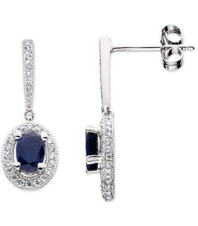 Earrings - 1.68 Carat Oval and Round Cut Sapphire & Diamond Earrings 14Kt White Gold