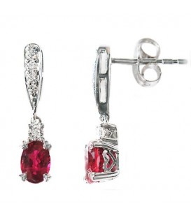 Earrings - 0.90 Carat Oval and Round Cut Ruby and Diamond Earrings 14Kt White Gold