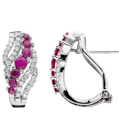 Earrings - 1.06 Carat Round Cut Ruby and Diamond Earrings 14Kt White Gold