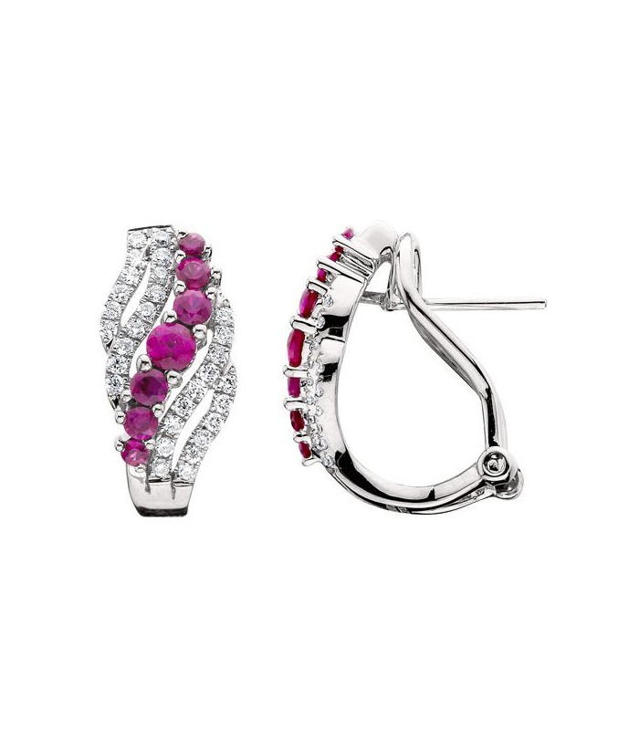 Round Cut 1 06ct Ruby And Diamond Earrings 14kt White Amoro