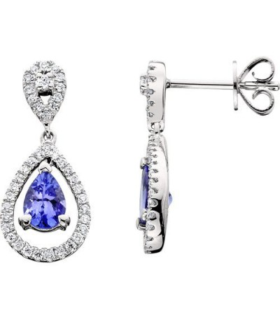 Earrings - 1.35 Carat Pear and Round Cut Tanzanite & Diamond Earrings 14Kt White Gold