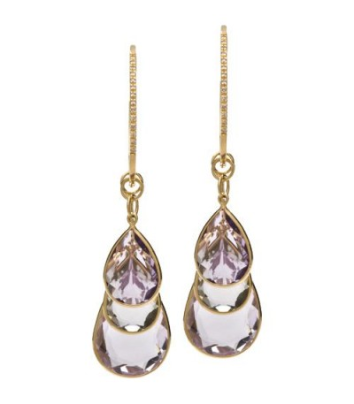 Earrings - 27.69 Carat Pear Cut Pink Amethyst & Praziolite Earrings 18Kt Yellow Gold