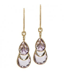 More about 27.69 Carat Pear Cut Pink Amethyst & Praziolite Earrings 18Kt Yellow Gold