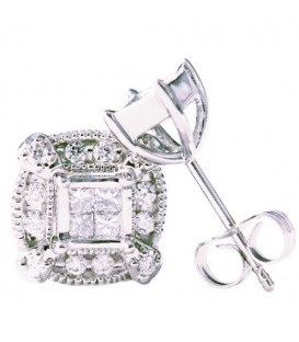 Earrings - 0.50 Carat Princess and Round Cut Diamond Earring Jacket & Stud 14Kt White Gold