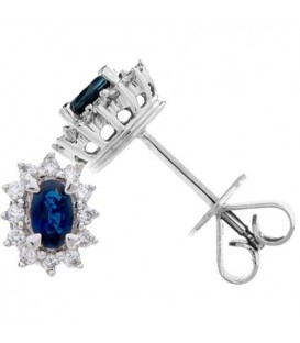 Earrings - 1.94 Carat Oval Cut Sapphire and Diamond Stud Earrings 18Kt White Gold