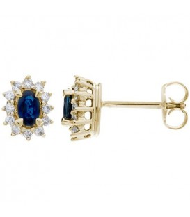 Earrings - 1.94 Carat Oval Cut Sapphire and Diamond Stud Earrings 18Kt Yellow Gold