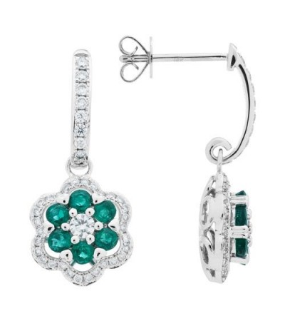 Earrings - 1.39 Carat Round Cut Emerald and Diamond Earrings 18Kt White Gold