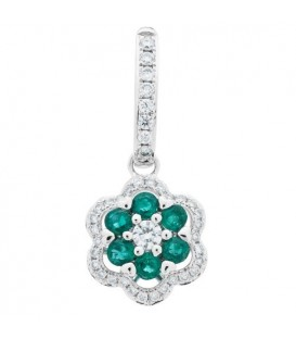 1.38 Carat Round Cut Emerald and Diamond Earrings 18Kt White Gold