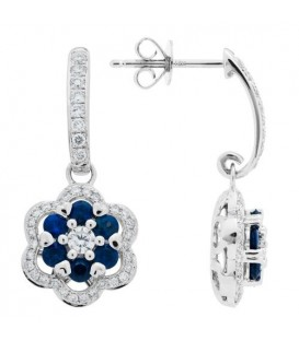 More about 1.41 Carat Round Cut Sapphire and Diamond Earrings 18Kt White Gold
