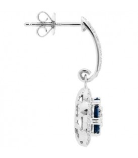 Earrings - 1.41 Carat Round Cut Sapphire and Diamond Earrings 18Kt White Gold