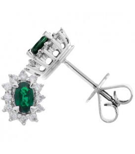 Earrings - 1.48 Carat Oval Cut Emerald and Diamond Stud Earrings 18Kt White Gold