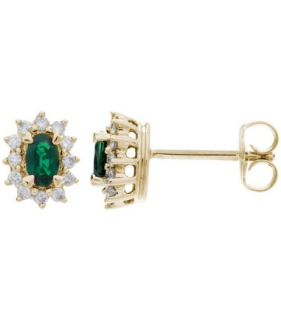 Earrings - 1.48 Carat Oval Cut Emerald and Diamond Stud Earrings 18Kt Yellow Gold