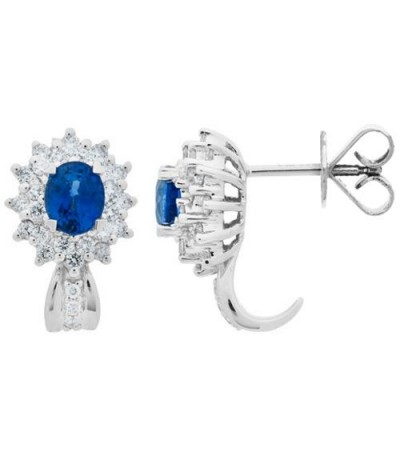 Earrings - 1.45 Carat Oval Cut Sapphire and Diamond Stud Earrings 18Kt White Gold