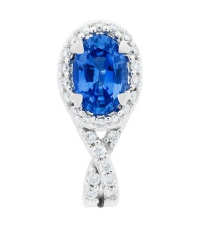 1.25 Carat Oval Cut Sapphire and Diamond Stud Earrings 18Kt White Gold