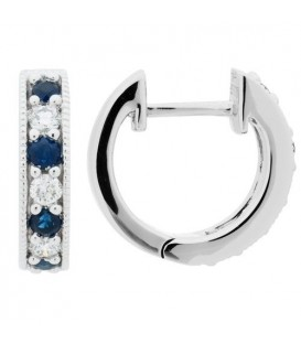 Earrings - 0.42 Carat Round Cut Sapphire and Diamond Earrings 18Kt White Gold